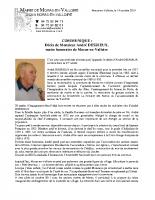Communiqué hommage à Monsieur André DESRIEUX